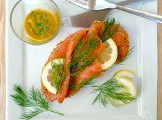 Danish open-face sandwich, or smorrebrod: Gravlax