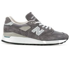 New Balance Lateral Logo Sneakers ($272) ❤ liked on Polyvore featuring shoes, sneakers, grey, gray sneakers, leather trainers, leather sneakers, leather shoes and new balance shoes
