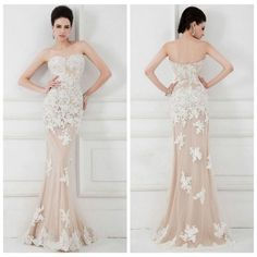 New White Lace Nude Tulle Mermaid Formal Evening Party Dresses Prom Wedding Gown Cheap Short Prom Dresses, Mermaid Prom Dresses Lace, Prom Dresses 2016, Sweetheart Prom Dress, Elegant Prom Dresses, Formal Dresses For Women, Long Wedding Dresses, Party Dresses, Dresses Dresses
