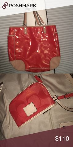 Coach Beach Bag big coach beach bag with lots of room and a wallet hooked on the inside! only used once! in perfect condition. feel free to offer! Coach Bags Totes