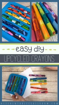 Melt down grubby old crayons and make new rainbow crayons. Melt down grubby old crayons and make new rainbow crayons. Old Crayon Crafts, Melted Crayon Crafts, Crayon Art, Crayon Molds, Sharpie Crafts, Making Crayons, Diy Crayons, Broken Crayons, How To Make Crayons