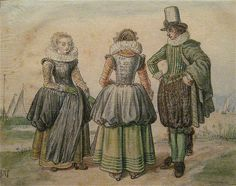 Three Richly Dressed Figures in a Landscape pen and ink and watercolor, over graphite, c. 1620 Dutch Hendrick Avercamp (1585 - 1634)