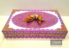 Gift box using Create-a-Card Decorative Die - Fancy Shutter - Designed by Angela O'Donoghue #crafterscompanion