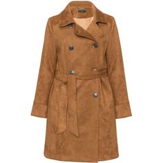 Manon Baptiste Camel Plus Size Faux suede trench coat ($210) ❤ liked on Polyvore featuring outerwear, coats, camel, plus size, plus size trench coat, plus size women's trench coat, lapel coat, faux suede trench coat and double breasted coat