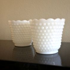 Precious Pair of Vintage Fire King White Hobnail Milk Glass Planters...found 6 of these @ Tree Street Yard Sale!