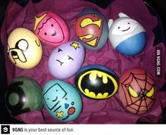 Fun Food eggs superheros batman spiderman easter ostern gameboy princess prinzessin nerd eier