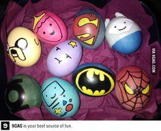 Fun Food eggs superheros batman spiderman easter ostern gameboy princess prinzessin nerd eier