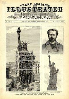Us History, American History, History Pics, Liberty Statue, Etiquette Vintage, Gustave Eiffel, Liberty Island, New York Harbor, Old Newspaper