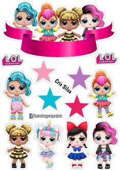 Disney Cake Toppers, Birthday Cake Toppers, Adult Crafts, Diy And Crafts, Lol Doll Cake, Cute Cartoon Girl, Doll Party, Baby Album, Party Kit