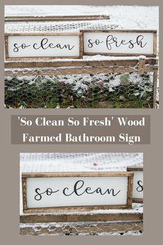 Love this wood framed bathroom sign! #affiliate #bathroomdecor #rustic #farmhouse #homedecor
