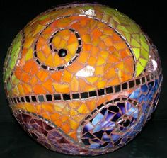 """Serenity"" garden ball - Chrysalis Pottery www.facebook.com/BarbJohnson.pottery"