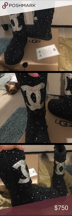 Stunning Swarovski crystal & black pearl uggs Swarovski Crystal!!! & black pearl boots Brand New , custom order , Gorgeous 😍❤️ to hot for me to wear in Florida 😖☀️🔥🔥🔥 Shoes Heeled Boots