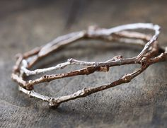 Twig Bangle Bracelet in Red Bronze Nature by ClaudetteTreasures