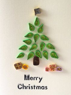 CHRISTMas Tree quilled Card handmade green funny by szalonaisa, $7.60