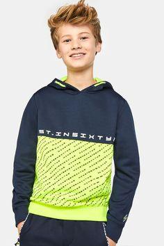 Jungen-Sportsweatshirt in Colourblock-Optik Knallgelb Boys Hoodies, Boys T Shirts, Mens Sweatshirts, Toddler Boy Outfits, Cute Girl Outfits, Kids Outfits, Preppy Summer Outfits, Neon Outfits, Preppy Boys