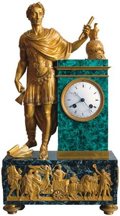 In the Catherine Palace, Russia, a mantel clock incorporating a bronze figure of Julius Caesar, made by Lucien François Feuchère (no later than 1817)