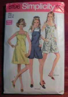 b45e1487fbb34 1960s Romper Pant dress playsuit Sundress Mod Sewing Pattern Simplicity  8196 Size 12 Bust 34