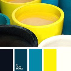 Yellow decor accents with blue decor or wall colors. Bright yellow colour creates beautiful contrast in combination with blue-green colour of teals. This palette will look good in kitchen or living room, Black Color Palette, Colour Pallette, Colour Schemes, Color Patterns, Color Combinations, Black Colors, Kitchen Wall Colors, Bathroom Colors, Bathroom Green