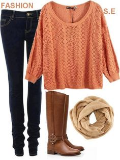 peach sweater, tan scarf, brown boots
