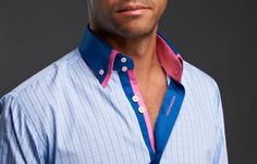 Blue Checkered Shirt Pink & Blue Lining Double Collar, Waisted-fit - Dress Shirts for Men - French-Shirts.com