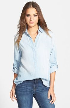 Sam Edelman Zip Back Chambray Shirt (Nordstrom Exclusive) available at #Nordstrom