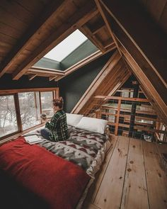 49 Stylish Loft Bedroom Design Ideas is part of A frame house - Do you want to extend the living capacity of your home, then why not convert your loft space into a […] Future House, A Frame Cabin, A Frame House, Ravens Home, Attic Rooms, Attic Bathroom, Attic Playroom, Attic Library, Attic Office