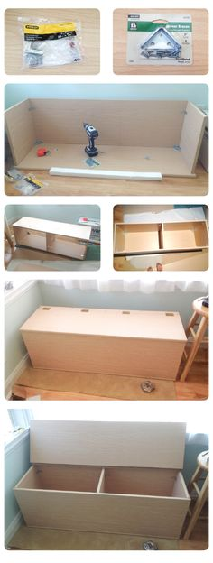 DIY Storage Bench. This could be done with a bookshelf on its back! could even add a cushion to the top and make seating! This would be a great idea for toys and extra blankets for the girls downstairs- easy clean up for company (like we ever have company)!