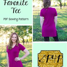 This is a PDF sewing pattern and tutorial to teach you how to create these garments. THIS IS NOT A FINISHED PRODUCT. The Favorite Tee will be just that! A favorite you an fill your closet with all the different options and great flattering fit. It is fitted at bust and semi-fitted through waist and hips. It skims your figure with enough relaxed ease to be comfortable. Neckline options include both scoop and v neck. Sleeve options include short, 3/4 and long. Hem and length options i...