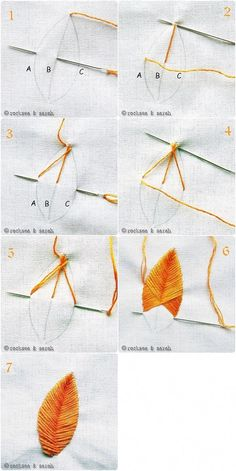 School in favor of hand embroidery stitches .- Schule zu Gunsten von Handstickstiche The post Anleitun… School in favor of hand embroidery The post instructions for hand embroidery stitches appeared first on PINK DiY. Hand Embroidery Patterns Free, Crewel Embroidery Kits, Embroidery Stitches Tutorial, Embroidery Flowers Pattern, Simple Embroidery, Knitting Stitches, Leaf Patterns, Embroidery Techniques, Embroidery Ideas