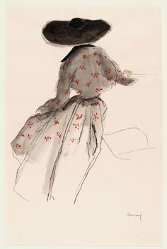 Fashion illustration by Bernard Blossac, ca. 1940s