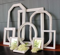 Chippy White Open Frame Collection for Rustic Wedding Decoration and Shabby Chic / Paris Apartment Home Decor