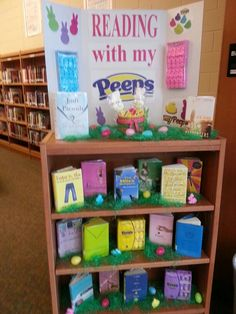 Book Display Ideas Reading With My Peeps Spring Library Book Display Library Book Display Ideas February Teen Library Displays, Library Themes, Library Activities, School Displays, Library Ideas, Elementary Library Decorations, School Library Decor, Library Week, Library Organization