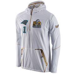 Men s Carolina Panthers Cam Newton Nike White Super Bowl 50 Bound Media Day  Alpha Fly Rush Half-Zip Player Jacket c18500c44