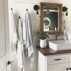 This is all the inspiration we need to tackle a bathroom remodel for our kids. We plan to do shiplap also, painted a nice shade of deep blue (not as dark as navy), and need mirrors that are a specific size to go over two sinks. @christinasadventures made these and shares a tutorial on her blog. We will let you know how it goes for us once we complete the space! ♀️ • • Don't forget, our shop code LOVE10 ends tomorrow.  • • #thehomesteadhavenfeels #thehomesteadhaven #bathr...
