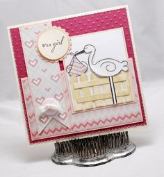 Baby Girl Stork Card - Baby Announcement - Invitation