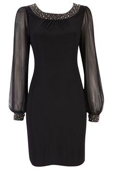 Black Embellished Holiday Dress