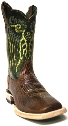 New to STT -- Ariat Men's Mesteno Clay and Lime Green Cowboy Boots | This pair of Ariat Cowboy Boots are absolutely incredible! Their unique dark green shaft and beautiful lime green embroidery is extremely appealing to the eye, and will have all eyes on you. | SouthTexasTack.com