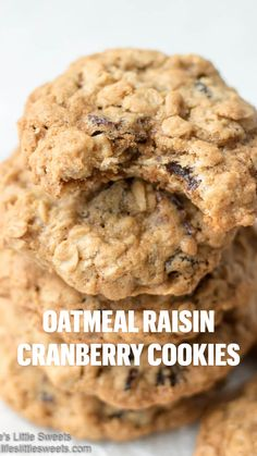 Oatmeal Raisin Cranberry Cookies: Cookies are wonderful because, much like cupcakes, they are individual – without any fussiness.  These Oatmeal Raisin Cranberry Cookies are wholesome cookies and though they have two kinds of sugar, they also have oatmeal, raisins and cranberries which are good for you. #cookies #oatmeal #raisins #oatmealcookies
