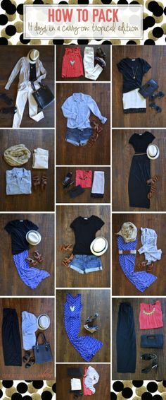 14 Days In A Carry On : Tropical Destination  Cute easy outfit ideas.