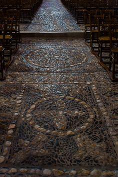 Cobbled floor, Basilique Saint Julien, Brioude (Haute-Loire)  Photo by Dennis Aubrey