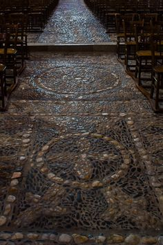 Cobbled floor, Basilique Saint Julien, Brioude (Haute-Loire)  Photo by Dennis Aubrey