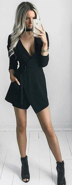 #winter #fashion / Black V-neck Off Shoulder Playsuit