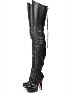 5 inch Heel Height 1 inch Platform Black PU Knee High Boots #boots
