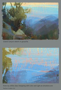 Land Sketch: Poor Man's Impressionism love it Sketchbook Inspiration, Painting Inspiration, Gouache Painting, Watercolor Paintings, Abstract Landscape, Landscape Paintings, Artist Sketchbook, Learn Art, Environmental Art