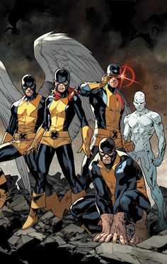 X-Men - The original team: Angel, Jean Grey, Cyclops, Iceman, Beast.