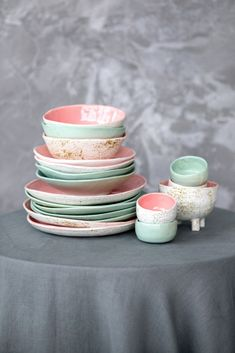 Pink mint mix and match ceramic tableware set consists of dinner plate, mini bowl, salad bowl and soup bowl. Kitchen dishes are new home gift. Dimensions: Height of the dinner plate is in cm), diameter is in cm). Height of the wide salad bowl is 2 inch Ceramic Tableware, Ceramic Bowls, Kitchenware, Plates And Bowls, Cake Plates, Teller Set, Kitchen Dishes, Dish Sets, Dinner Sets