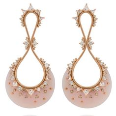 Fusion drop earrings in 18k rose gold with pink opal, clear topaz, and 1.5 cts. t.w. diamonds, price on request; Fernando Jorge