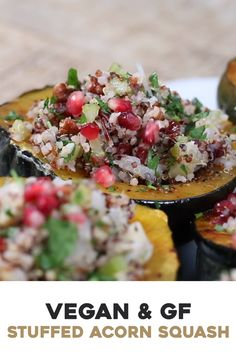 This gluten-free and vegan stuffed acorn squash recipe is the perfect side dish for your holiday table. Not only it looks beautiful, but also healthy and delicious. Vegan Recipes Videos, Raw Vegan Recipes, Healthy Recipes, Recipe Videos, Healthy Salads, Easy Recipes, Acorn Squash Recipes Healthy, Vegetable Recipes, Vegan Side Dishes