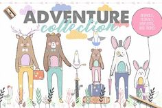 Adventure Collection - Create postcard with hand drawn bear for a friend or decorate child's room. This package includes elements that will help you in your design: animals, flowers, patterns, frames, adventure elements and more. Create an invitation or use for your small business.  @creativework247