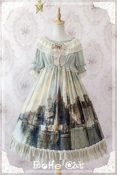 City Painting Vintage Classic Lolita Dresses